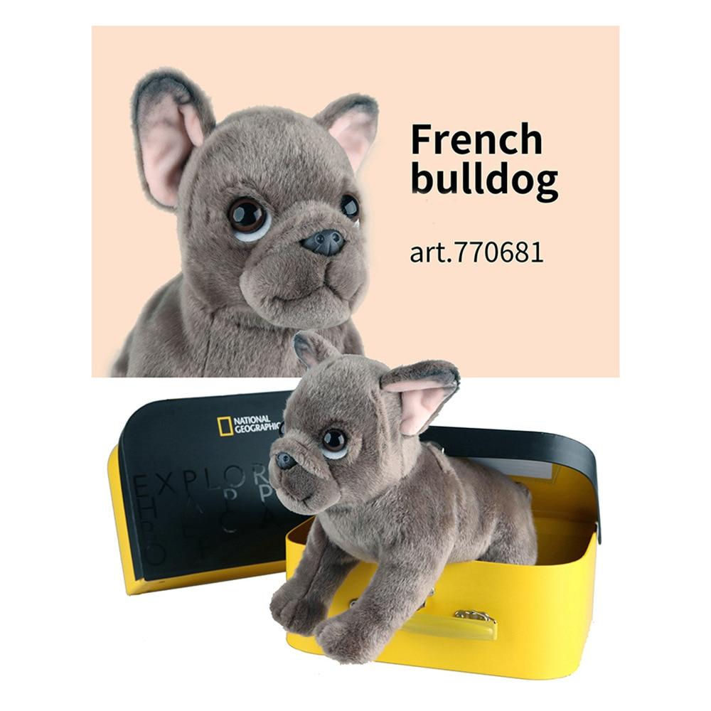 Национальная Geographic Реалистичная мягкая плюшевая собака, кукла каваи, французский бульдог, плюшевые игрушки, высококачественные подарки с у