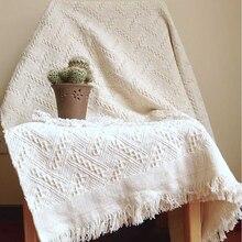 Literie en pur coton pour la maison, l'hôtel, le bureau, le canapé, couverture tricotée avec tapisserie à pampilles pour lit, avion, voyage, décor