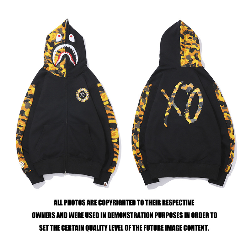 2019 Camo Yellow Mosaic Shark Hat Shirt XO Letter Hood Dress Youth Personality Wool Jacket  Cosplay Christmas  Hoodies Men