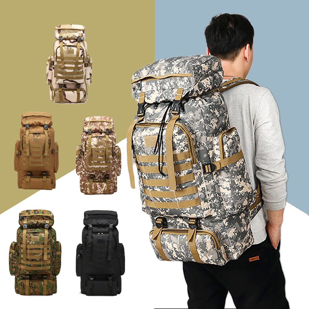 Outdoor Military Camouflage Backpack Oxford 80L Sports Camping Trekking Fishing Hiking Hunting Backpack Bags Accessories