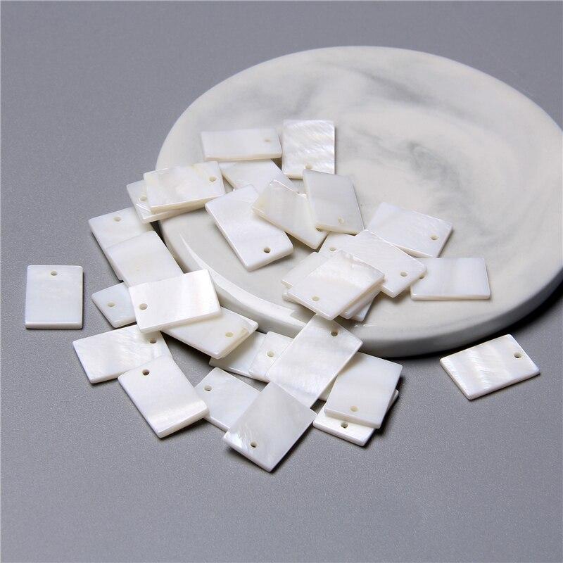 12x18mm naturalny prostokąt masa perłowa uroku wisiorek na kolczyki diy tworzenia biżuterii naszyjnik choker akcesoria znalezienie