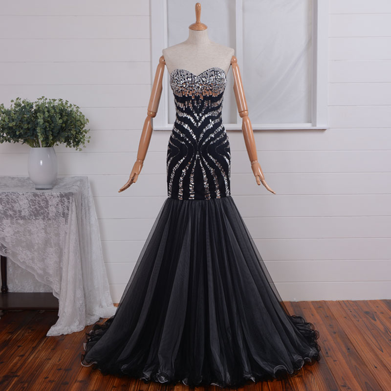 Luxury Rhinestone Sexy Sweetheart Black Long Prom Dresses 2015 Evening Dress Vestido De Festa Louisvuigon Woman A-line Beading