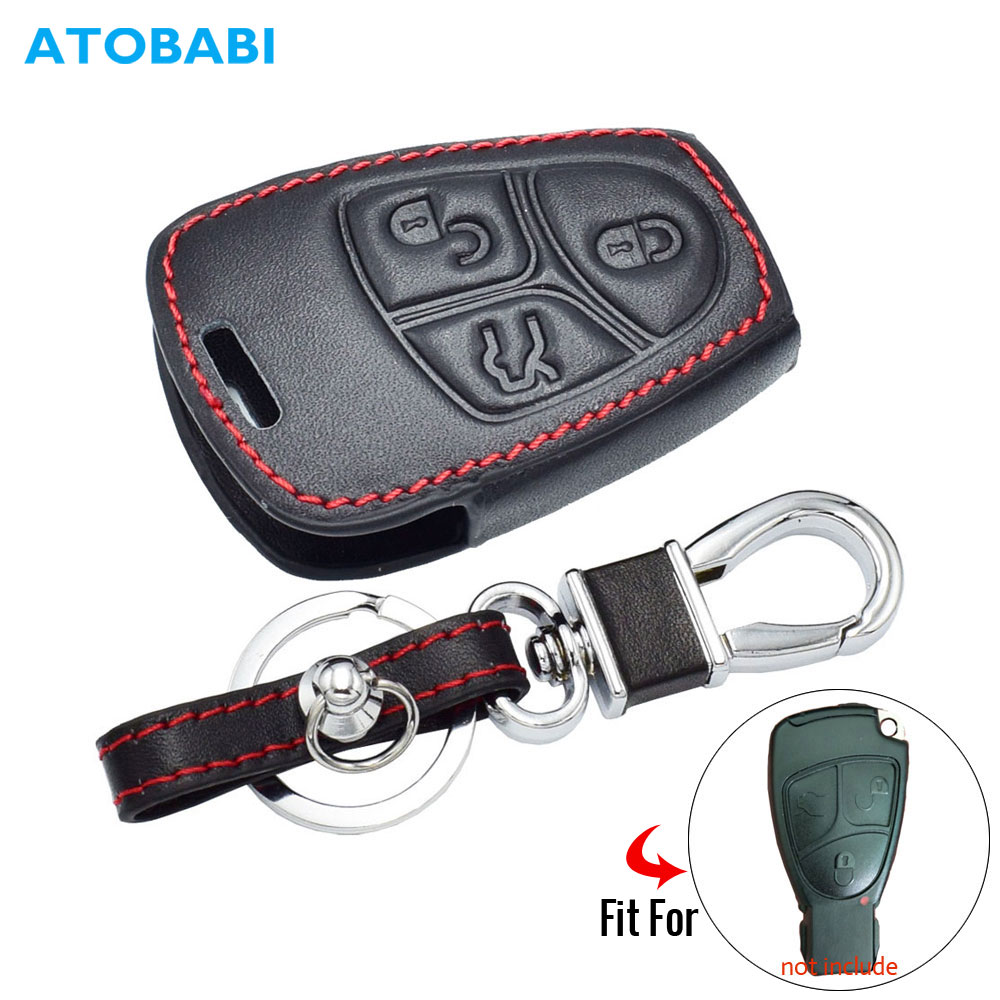 Leather Car Key Cover For Mercedes Benz B C E ML S CLK CL Class 3 Buttons Smart Remote Fob Protector Case Keychain Bag Accessory image