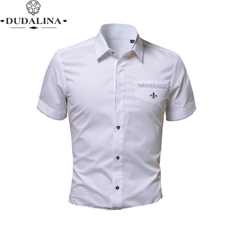 Dudalina Decoration Pocket Blouse Camisa Social Masculina Short Sleeve Fake Pocket Slim Fit Shirt Men Clothes Pullover Male