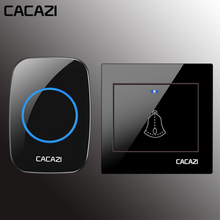 CACAZI Wireless Doorbell Waterproof 300M Remote 1 2 Battery Button 1 2 3 Receiver Home Door Ring Bell Chime US EU UK  Plug