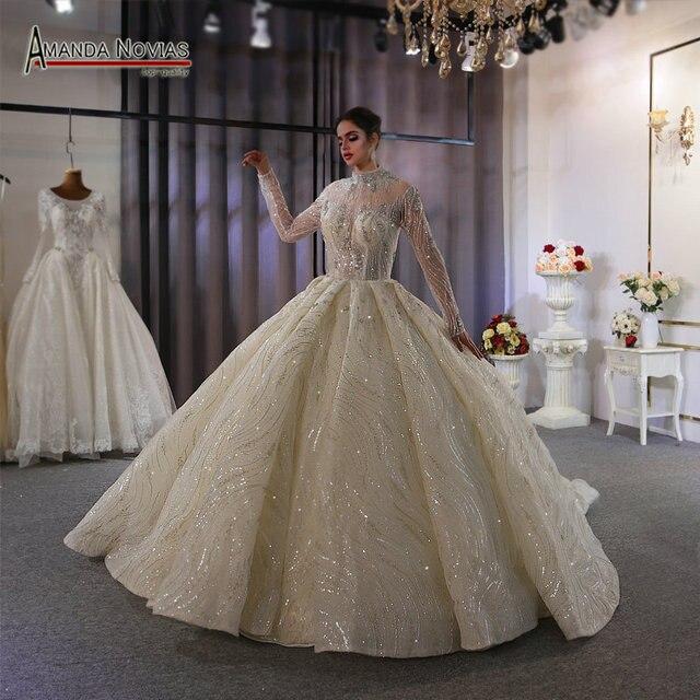 Suknia ślubna 2020 wysoki dekolt z całe z koralików zamówienie na zamówienie dubaj wesela