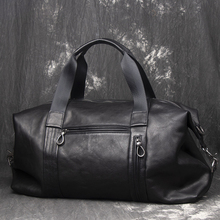 Vegetable Tanned Leather Travel Bag Men Business Trip Duffle