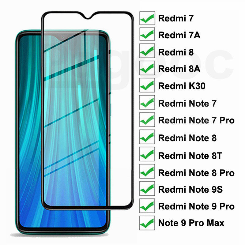 9D Full Screen Protective Glass On The Redmi 8 8A 7 7A K30 For Xiaomi Redmi Note 7 8 Pro 9Pro Max 8T 9S Tempered Glass Film Case