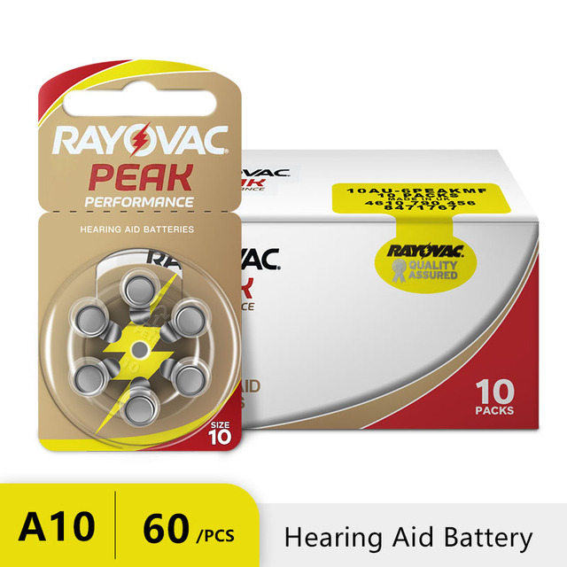 RAYOVAC PEAK 60 x Hearing Aid Batteries A10 10A ZA10 10 S10, 60 PCS Hearing Aid Batteries Zinc Air 10/A10 2
