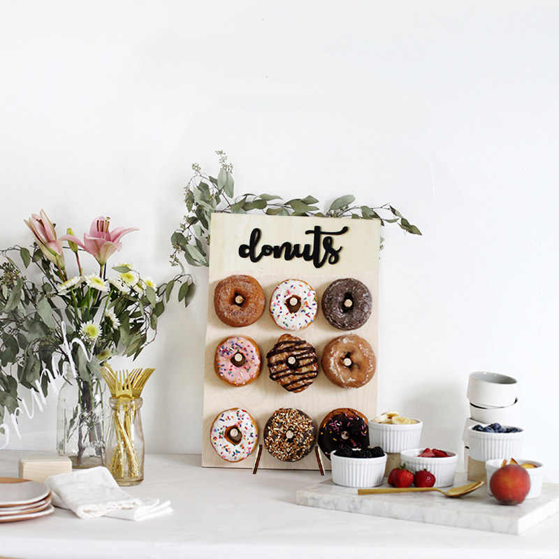 1Set soporte de piruleta Donut Party Dessert Decorator cumpleaños Candyland boda decoraciones para piruleta pop donuts Pantalla de pared