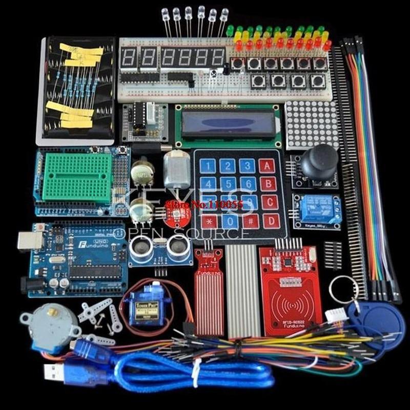 Стартовый набор для Arduino Uno R3 - Uno R3, макетная плата и держатель, шаговый двигатель/сервопривод/1602 ЖК-дисплей/перемычка/UNO R3