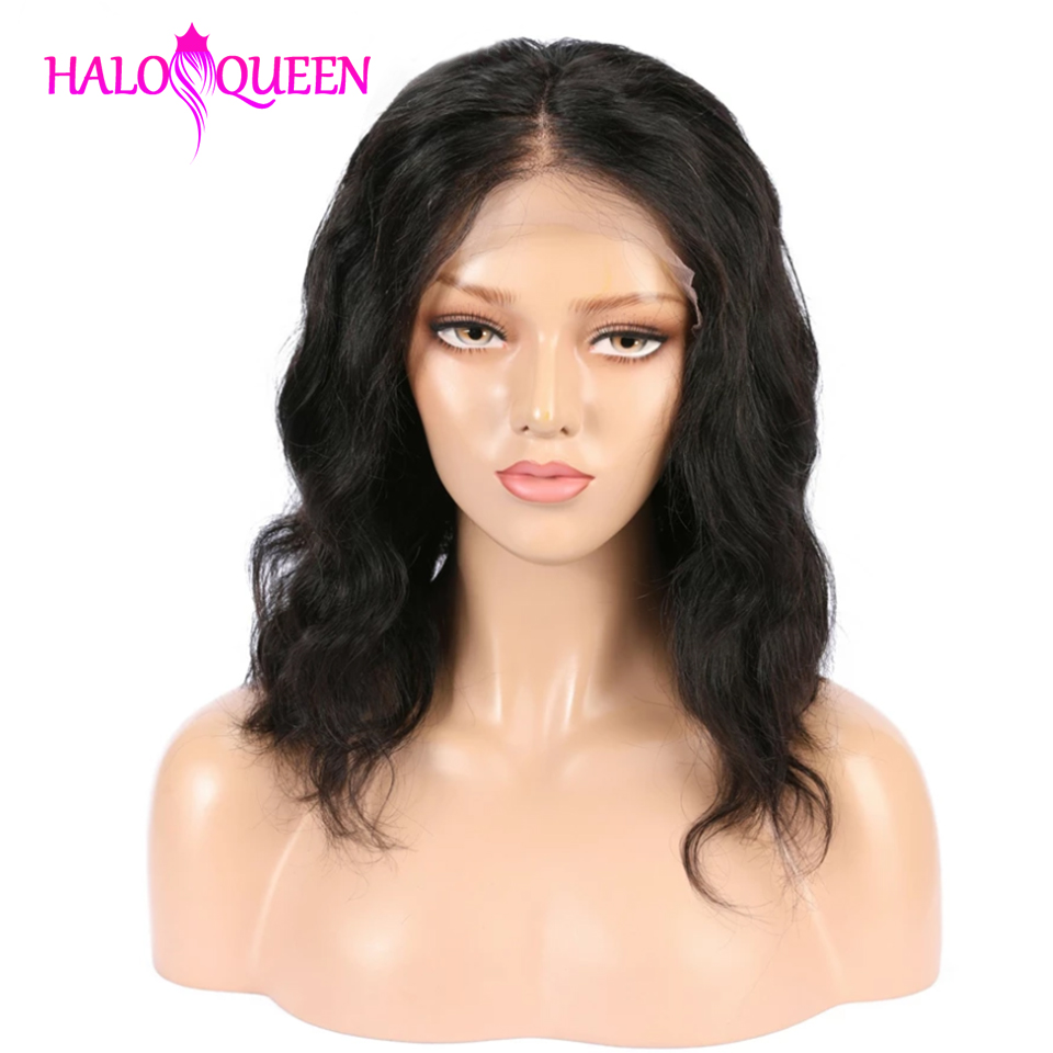 HALOQUEEN Short Lace Front Human Hair Wigs Bob Wig For Black Women Brazilian Non Remy Hair Wig Preplucked With Baby Wig