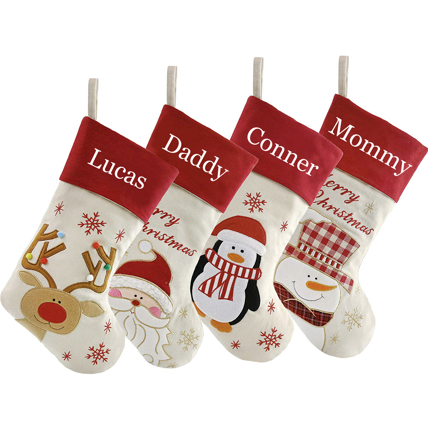 """Personalized Christmas Stockings Customized Name Embroidered Name Christmas  Gifts for Family DHL TNT Free Shipping Size 27"""""""
