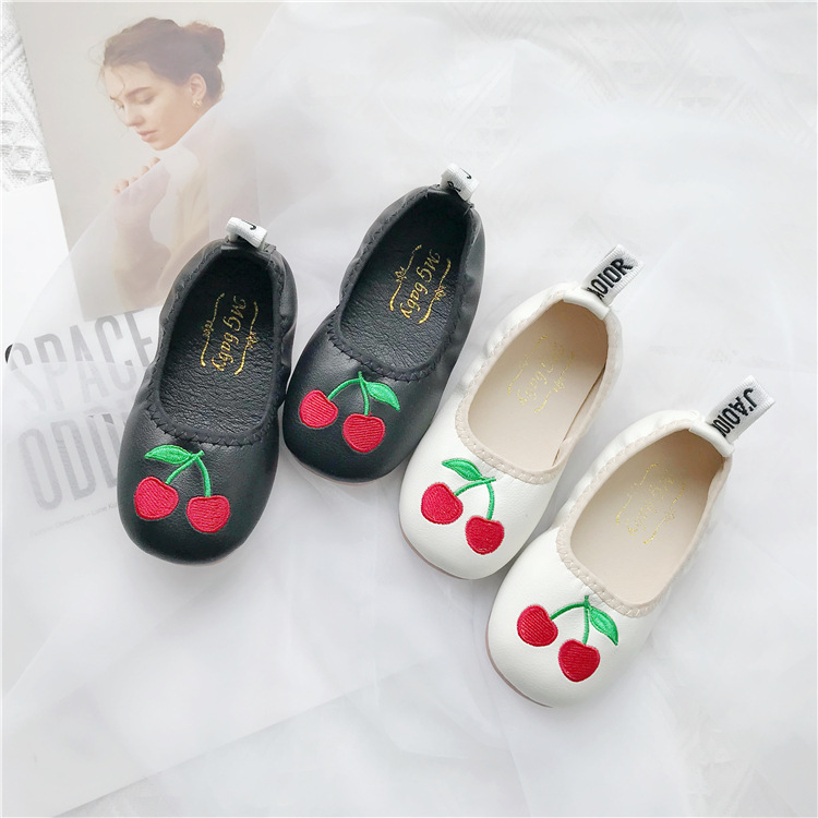Autumn 2019 Girls Egg Roll Shoes New Baby Soft Bottom Leather Shoes Children Cherry Pu Princess Shoes