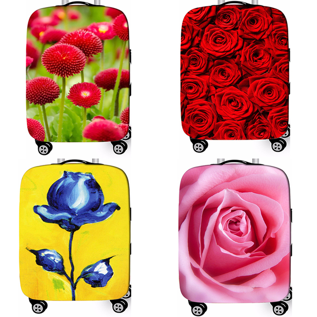 New Floral Rose Elastic Fabric Luggage Protective Cover For 18-32 Inch Trolley Case Suitcase Dust Cover Travel Accessories 1
