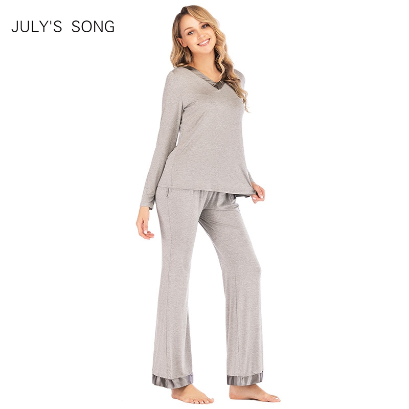 JULY'S SONG 2-piece Women Modal Sleepwear Autumn And Winter Pajamas Set Ladies Loose Home Women's Long-Sleeved Suit