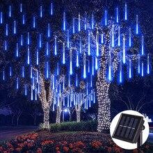 Luzes de natal ao ar livre à prova dwaterproof água solar led chuva meteoros luzes do feriado corda jardim luz 144 leds decoração casamento