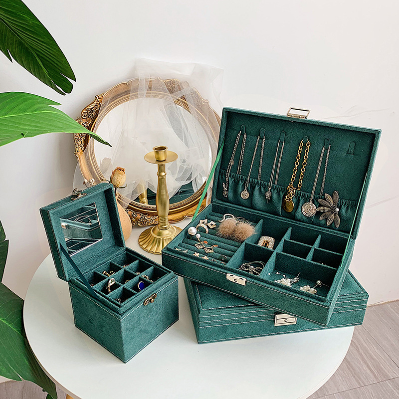 Jewelry Box Organizer with Lock Leather Green Organiser Box for Necklace Packaging Wholesale Bangles Drawer Lot Large Luxery