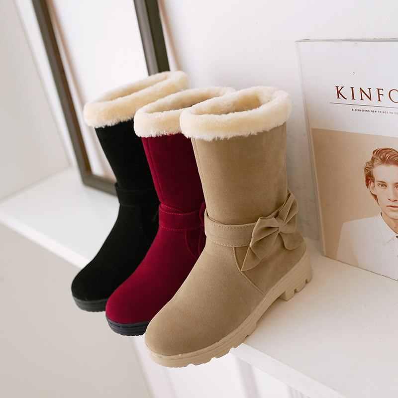 ASUMER toptan 2020 yeni varış kar botları kadın papyon kalın kürk sıcak kış çizmeler bayanlar orta buzağı çizmeler pamuklu ayakkabılar kadın