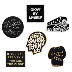 Funny Letter Quote Anti social Pins Thinking Brain Loser club Too close Skeleton Coffin Brooches Enamel Pin Metal Badge Jewelry(China)
