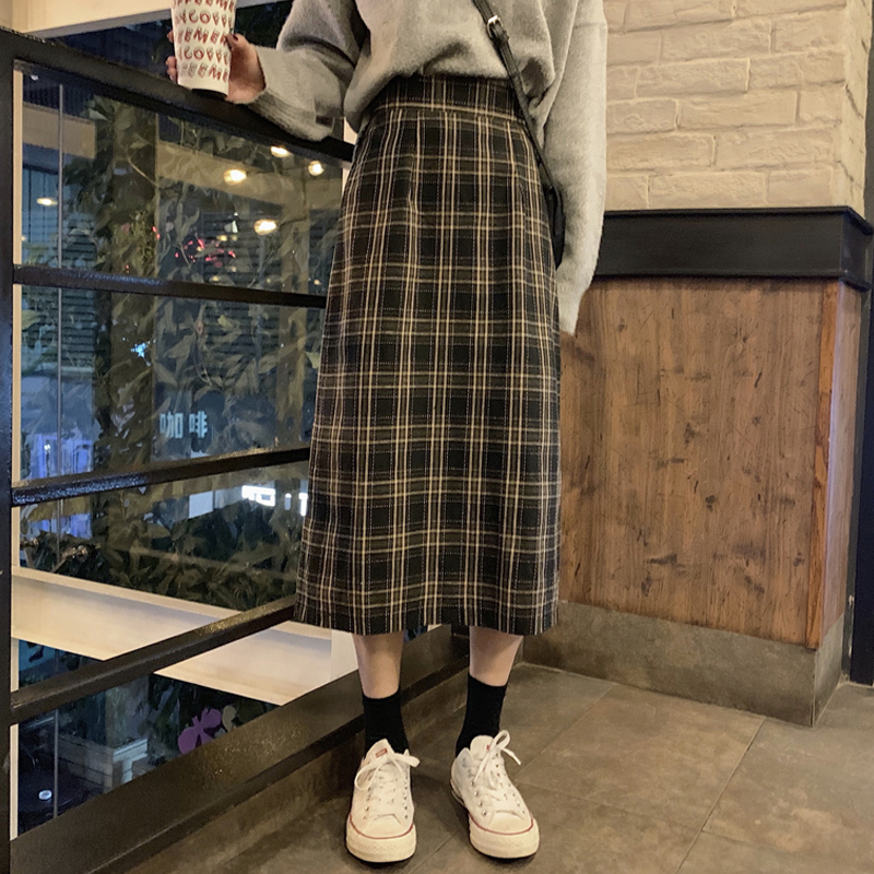 Side Split Plaid Pleated Long Skirts High Waist Winter Women Korean Woolen Skirt Streetwear Drawstring Elastic Waist Midi Skirt