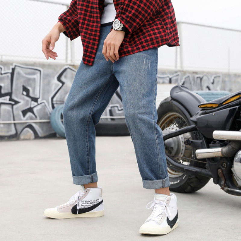 New Style Jeans Popular Brand Loose Straight Korean-style Trend Pendant Sense Dad Pants Hong Kong Flavor Pants Men's Wide-Leg Bi