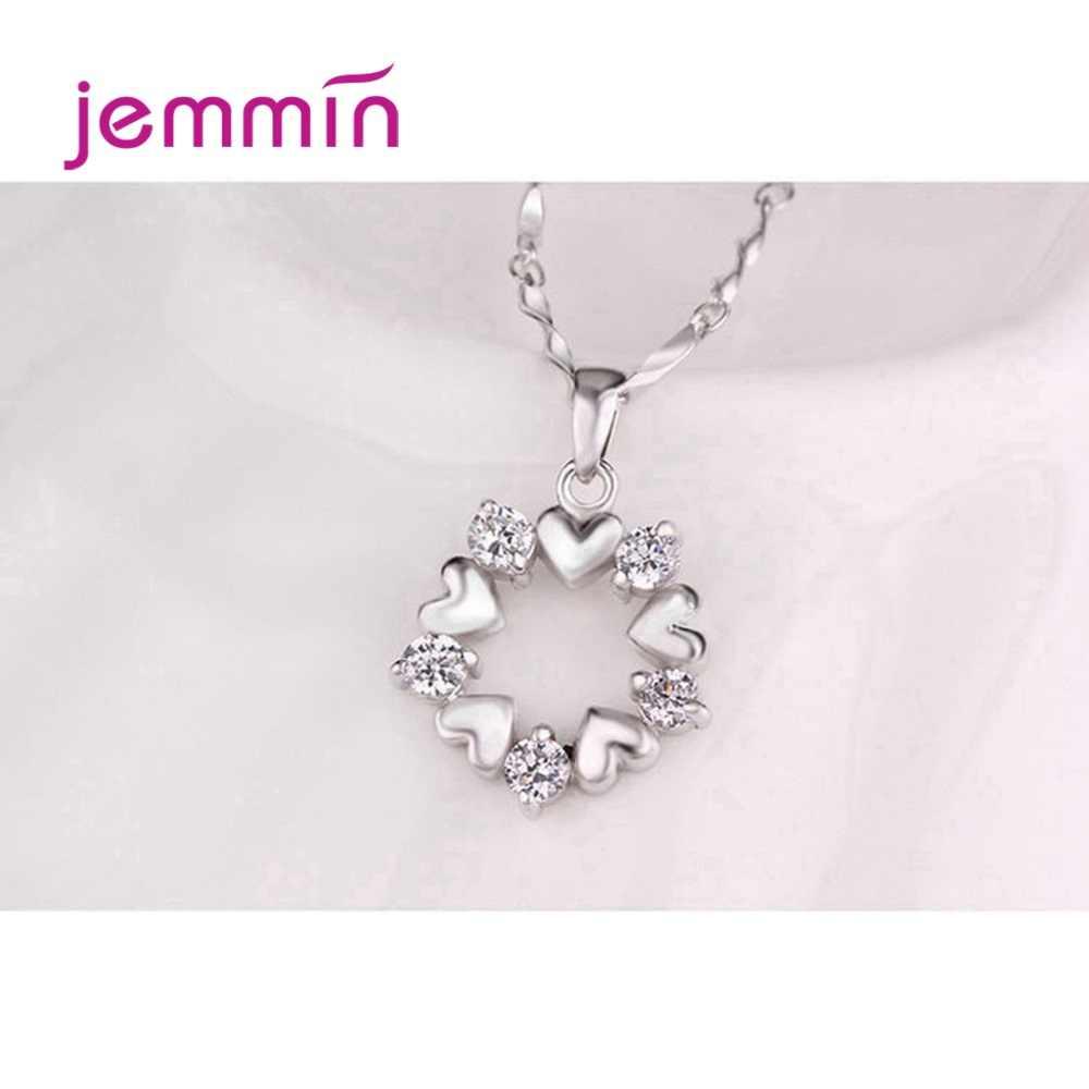 925 כסף סטרלינג תליון שרשרת עבור נשים מסיבת אירוסין תכשיטים רומנטי לב צורת האוסטרי קריסטל