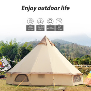 Image 3 - Large Space Mongolia Yurt Tent 8 10 Person Outdoor Waterproof Oxford Family Tent for Self drive Camping Wild Survival Picnic