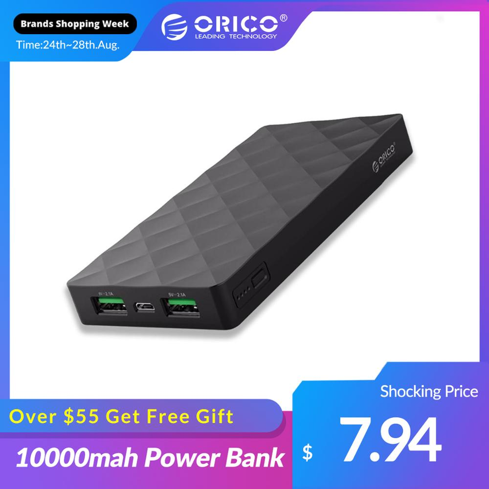 ORICO 10000mah Power Bank External Battery PoverBank 2 USB LED Powerbank Portable Mobile phone Charger for Xiaomi iphone Note 8 Power Bank    - AliExpress