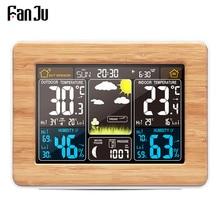 FanJu ساعة تنبيه درجة الحرارة الرقمية الرطوبة اللاسلكية بارومتر توقعات محطة الطقس ساعة إلكترونية مكتب ساعات مكتب
