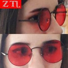 ZT Round Women Red Sunglasses Brand Designer Luxury Men Yellow Lens Shades UV400