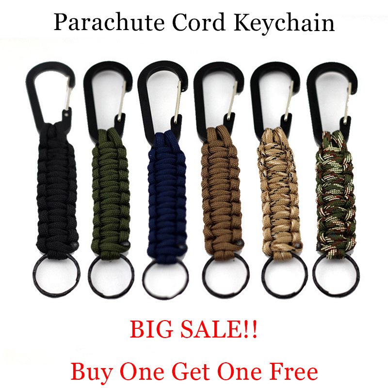 1PC Outdoor Survival Kit EDC Parachute Cord Keychain Military Emergency Paracord Rope Carabiner For Climbing Accessories