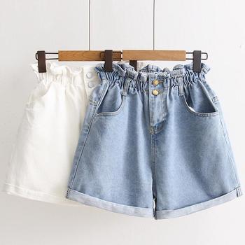 Garemay Women's Denim Shorts Large Size Summer 5Xl High Waist Elastic Waist Harem Ruffle Shorts Jeans For Women Xxxl ruffle trim self tie waist shorts