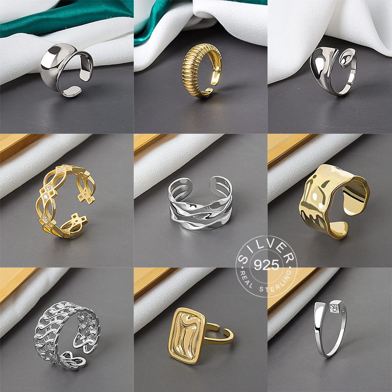 925 Sterling Silver Open Ring For Women INS Niche Irregular Wave Sand Surface Wide Noodle Original Party Birthday Gift