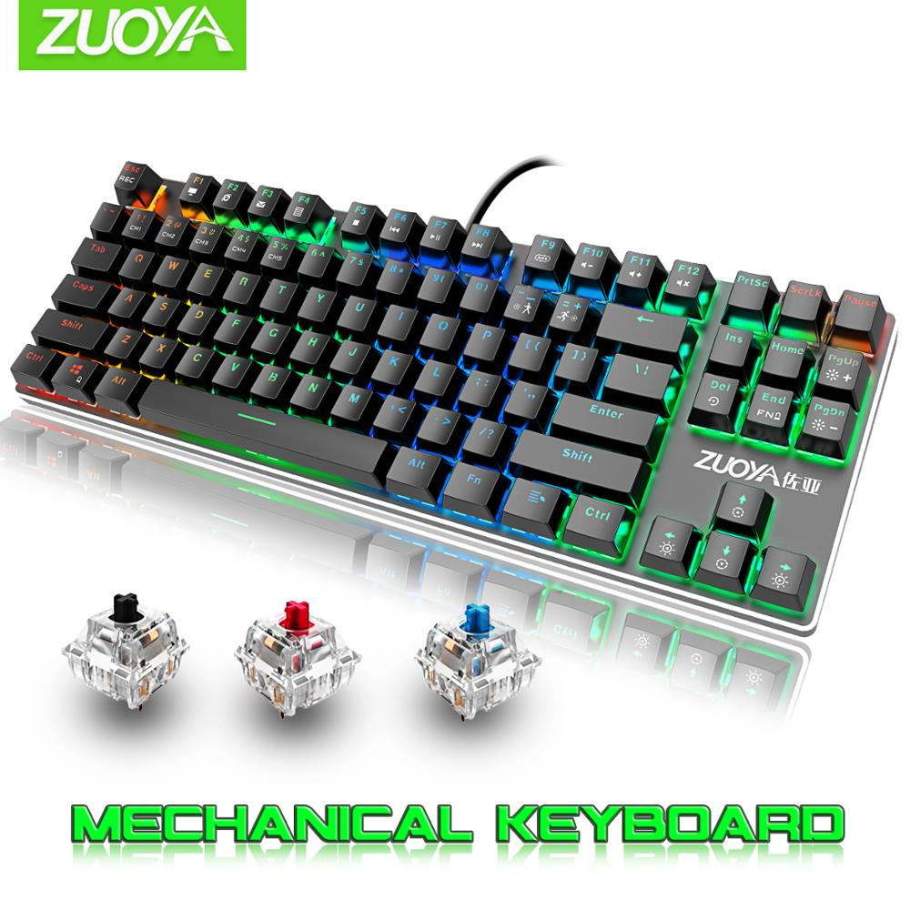 Gaming Mechanical Keyboard 87 Keys MIX/RGB Backlight Game Wired Keyboard Blue Red Switch USB For Computer Laptop English/Russian