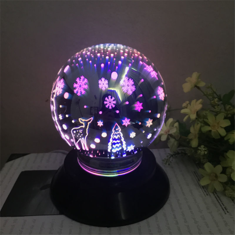 Christmas 3D Night Light Magic Glass LED Colorful Cover Lamp USB Automatic Rotating Battery Magic Meteor Creative Lighting Gifts|LED Night Lights| - AliExpress