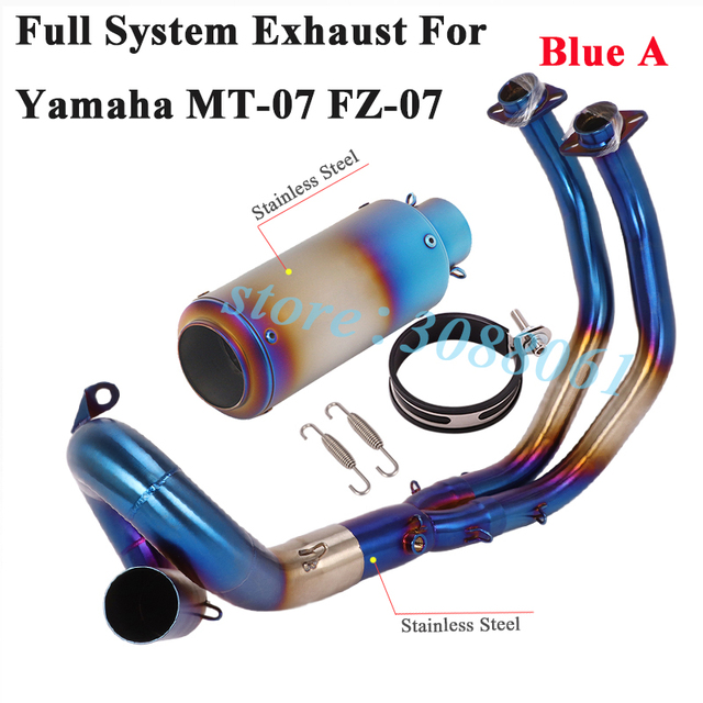 titanium alloy slip on for yamaha mt 07 fz 07 mt07 motorcycle full exhaust escape modified front middle link pipe muffler carbon