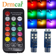 T10 W5W RF Control RGB Led Reading Light Turn Signal 194 168 Car Clearance License Plate Light PositionTrunk Dome Reading Light