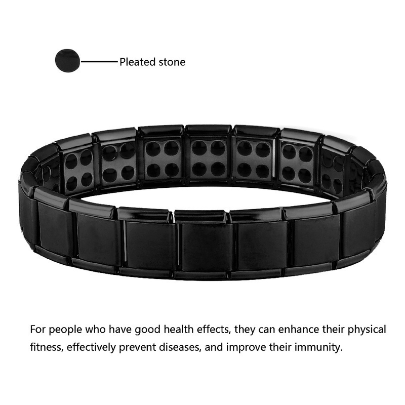 New Stainless Steel Black Germanium Magnetic Chain Link Bracelet for Women Men Health Care Energy Jewelry Snoring Bracelet