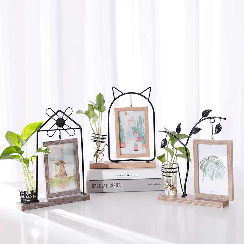 Photo Frame Wrought Iron Table Photo Frame Double-sided Picture Frame Hydroponics Plant Picture Frame Creative Nordic 6 Inch