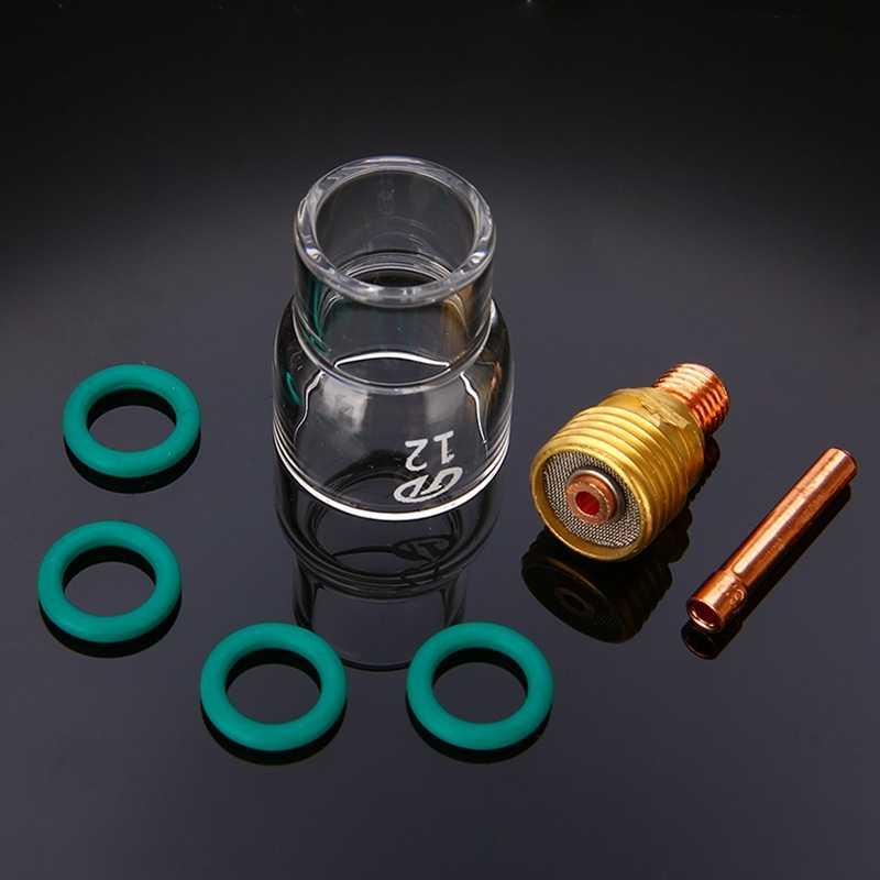 7ピース/セット #12パイレックスガラスカップキットずんぐりコレットボディガスレンズtig溶接トーチWp-9/ 20/ 25溶接アクセサリー