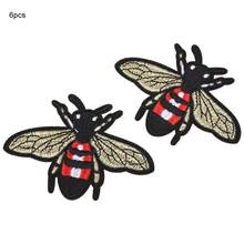 Patches Stranger Things 6Pcs Cute Bee Shape Embroidery Patches Sewing Decoration Patch DIY Clothes Applique Riverdale(China)