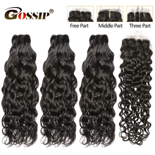 Remy Water Wave Bundles With Closure Brazilian Hair Weave Bundles Gossip 4 Bundles With Closure 30 Inch Bundles Hair Extension