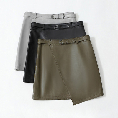 Image 3 - 2019 New Leather Sheepskin Skirt High Waist Skirt J14Skirts