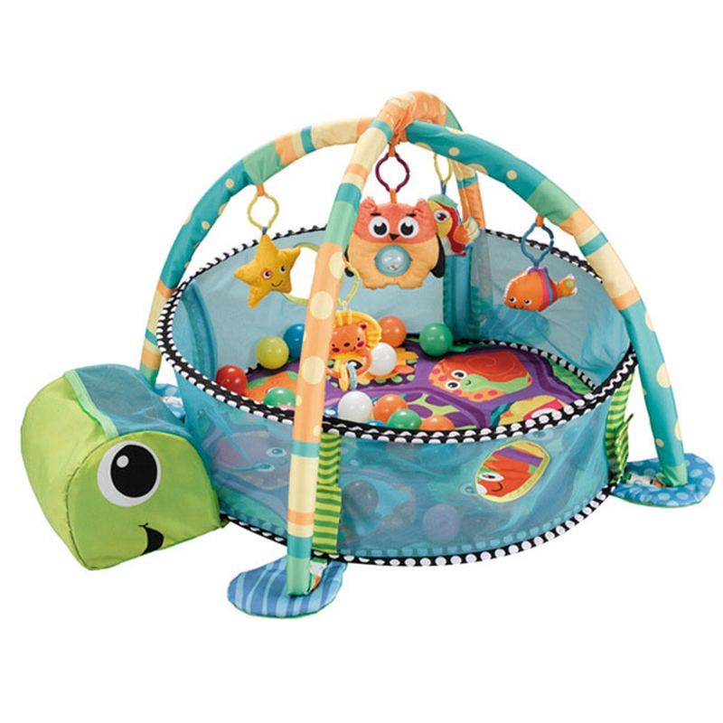 FBIL-Baby Play Mat 0-3 Year Playmat Gym Carpet Crawling Mat In Kindergarten Toy Net Support 3-In-1 Marine Ball Pool Fence