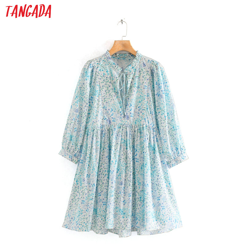 Tangada 2020 fashion women blue floral print summer dress bow neck long sleeve ladies vintage loose dress vestidos 2W135(China)