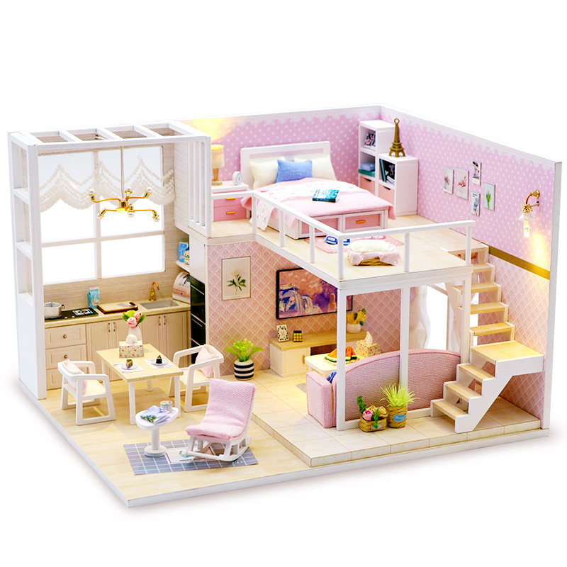 Девушки для изготовления DIY игрушки детей 3D головоломки дерево ручной работы дом для взрослых сад вилла Творческий мужской