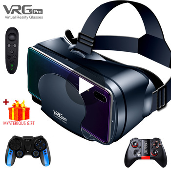 Virtual Reality 3D VR Headset Smart Glasses Helmet for Smartphones Cell Phone Mobile 7 Inches Lenses Binoculars with Controllers 1