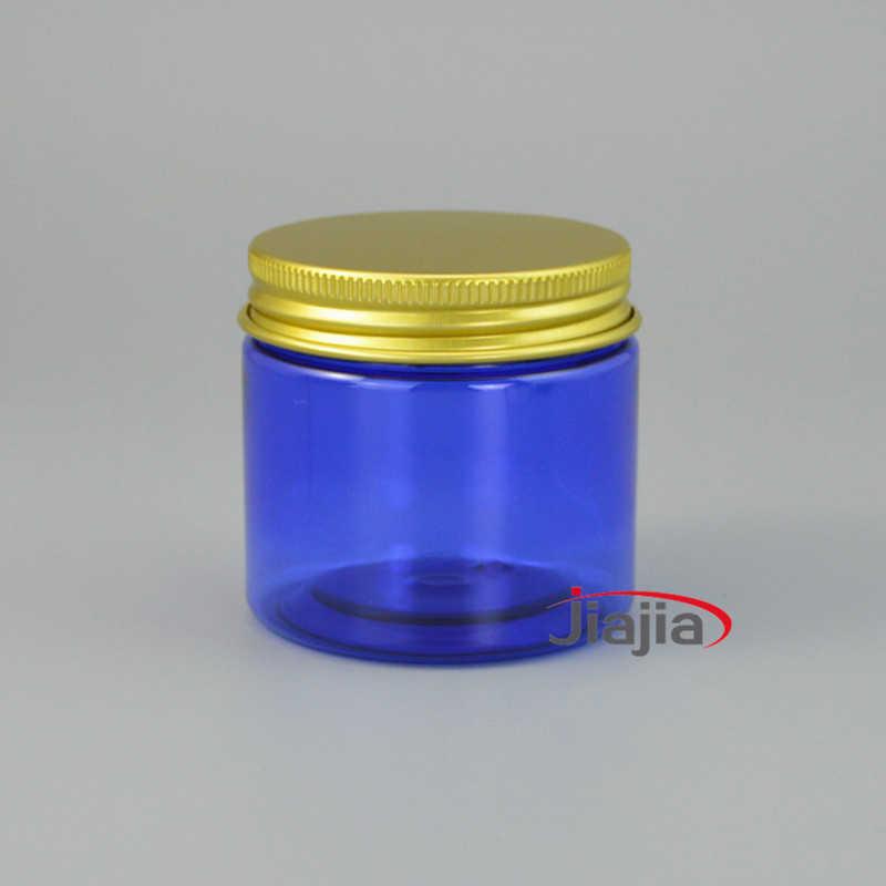 Livraison gratuite 50g en plastique bleu bouteille vide visage masque pot 50ml cosmétique maquillage crème Lotion bonbons pilule thé emballage conteneur