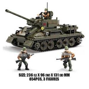 Image 2 - WW2 M26 Pershing tankı Panzer T 34 (85) abd almanya askeri tanklar yapı taşları askerler rakamlar tuğla seti oyuncak çocuk